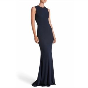 Dress The Population | Eve Crepe Mermaid Gown Navy